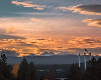 Bend Oregon Old Mill Cascade Mountains Photograph Digital Download