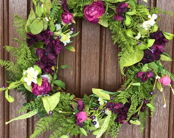 "Spring silk purple blossom wreath 16"""