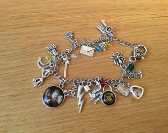 Harry potter themed charm bracelet silver plated
