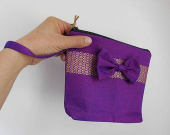 Womens gift luxury unique Thai woven handmade make up bag with a nice bow project bag knitting bag