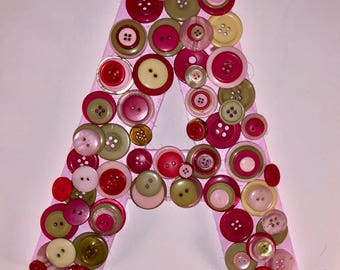"""Pink and Green 8"""" Letter """"A"""" Button Art- Home Decor- Wall Hanging"""