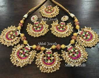 Beautiful Jadau Kundan Pankhi set with Earrings &Tika
