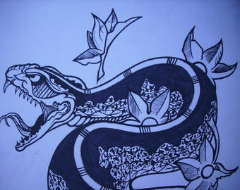 traditional japanese snake tattoo art black and white