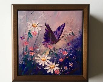 Butterfly and flowers jewelry box