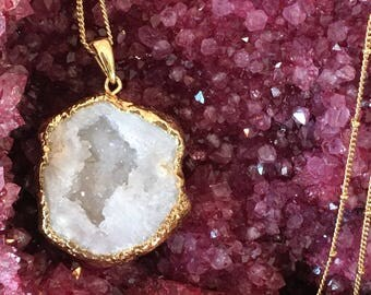Natural druzy quartz agate geode slice pendant charm gold necklace 24k gold plated 32inch white bohemian boho
