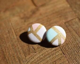 Handmade Fabric Button Earrings