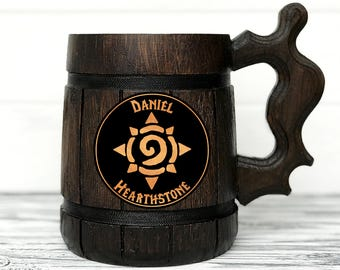 World Of Warcraft Mug. Hearthstone Mug. WOW Gift. World Of Warcraft Gifts. Custom Beer Steins Wooden Beer Tankard Personal Gifts for Men #65