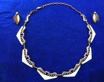 Vintage Matisse copper and white enamel necklace and earrings