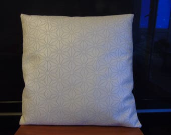 Pillow white leatherette printed silver stars