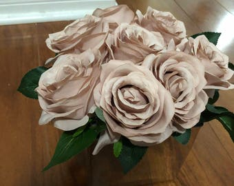 Artificial Roses arrangement with silver cube