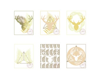Deers and Fronds Digital art print individual copy