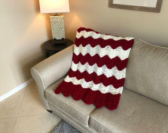 Burgundy & White Ripple Pattern Afghan