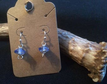 Small light blue wire wrapped glass bead earrings