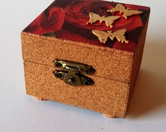Small Wooden Box Lined with Cork