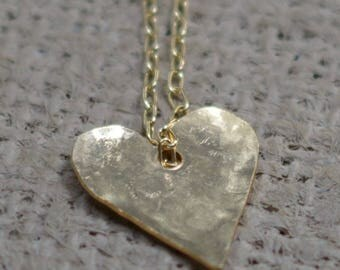 GOLD FILLED TEXTURED Heart Pendant, Unique Women's  Minimalist heart  jewellery, weddings,birthday