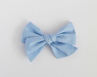 Cornflower // Pale Blue Handmade Alice Bow