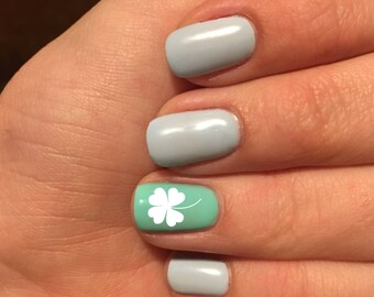 Nail Decals- Four Leaf Clover Nail Decal- Shamrock Nail Decals- St. Patrick's Day Nail Decals- Nail Art- Vinyl Nail Art- Vinyl Nail Decals