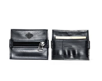 Vegan black purse from brand ghost made from recycled bicycle tubes