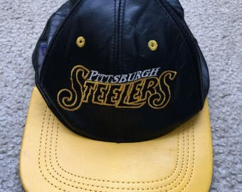 Men's Vintage 90s Modern NFL Branded Pittsburgh Steelers Black Leather SnapBack Hat
