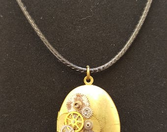 Large Oval Steampunk Inspired Locket on leather look cotton cord