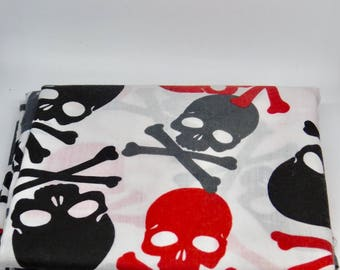 Black and Red Scull and Crossbone pattern Dog Bandana or Bow