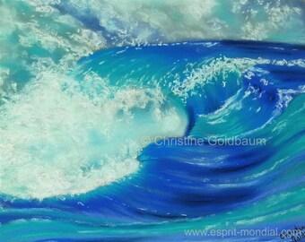 Wave Blue original artwork pastel painting 23 x 28 cm