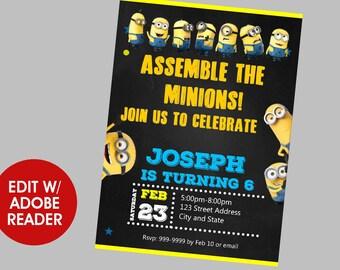 Minions Birthday Invitation, Minions Invitation, Minions, Birthday Invitation, Birthday Invite, Minnions