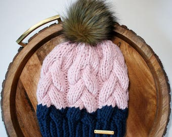 Beanie, Braided Cable Beanie, blush, pink, navy, beanie with faux fur pom pom, faux fur pom pom, brown pom pom