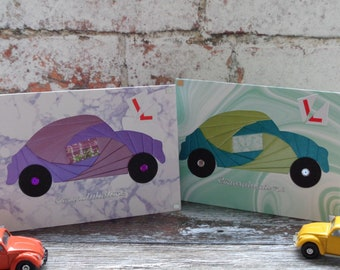 Handmade car card. Driving test card/New driver card. Congratulations passed driving test.