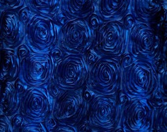 Paige ROYAL BLUE 3-D Floral Polyester Satin Rosette Fabric by the Yard - 10028
