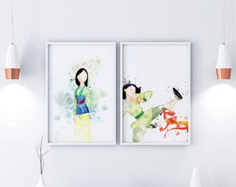 Mulan Prints Disney Prints Watercolor Prints Nursery Decor Nursery Nursery Wall Art Nursery Posters Mulan Wall Art Mulan Printable Mulan Art