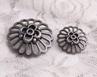 flower buttons 2 size 30*11.5mm/20*9mm 10pcs metal light black buttons shank buttons for coat sweater