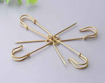 gold safety pins 12pcs 40*10mm bar pins decorative pins metal safety pins used in clothes hats skirts dresses