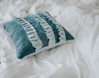 Denim Ruffles throw pillow