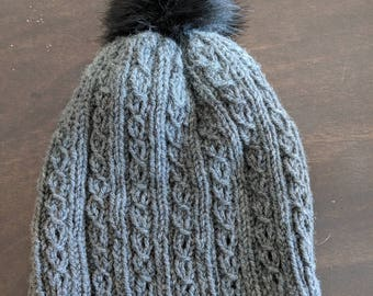 Mock Cable Pompom Toque