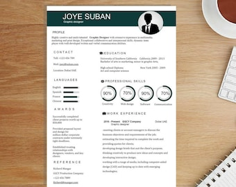 Creative Resume Template / CV Template Word + Cover Letter Professional Resume