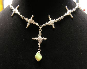1000-26 Sterling Cast Necklace With Ethiopian Opal