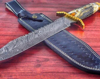 DAMASCUS Steel Knife 17 inches DEER HORN Handle
