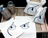 4 bags in bulk, reusable cotton tote bag, handprinted, zero bags waste, lazy