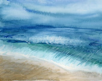 Beach Shore Original Watercolor 9x12