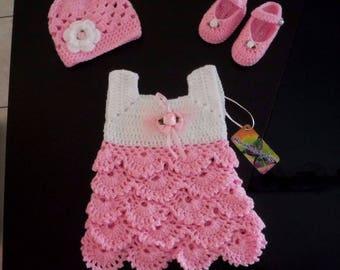 Crochet baby dress 3-6 months,crochet baby set