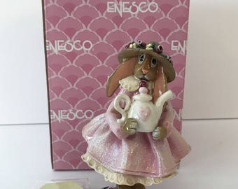 Enesco Bunny Littles FRIENDSHIP At The Heart of Love Easter Bunny Pink Dress Figure