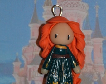 Born in polymer clay representing Merida (rebel - Brave) - Disney Princess Collection - handmade jewelry