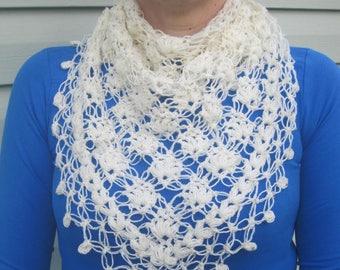 White shawl Triangle shawl Bactus Crochet shawl Lace shawl Crochet lace shawl Lace knit shawl Blue lace shawl Hand made shawl