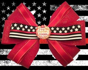 Firefighter Princess Hair Bow Accessory