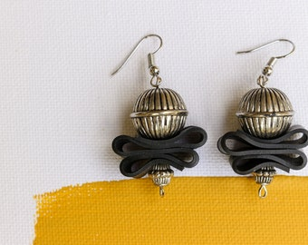 Silver Bell (handmade earrings from recycled bicycle inner tube and beads)