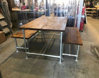 Industrial rustic dinning table and benches