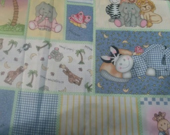Nursery Jungle Animals Cotton Fabric by the Yard