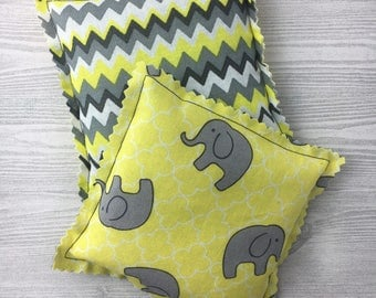 "Kozy Komfort ""Moscato"" Style Rice Heating Pad, Hand Warmer, Ice and Hot Pack, w/Baby Elephant and Chevron Pattern"