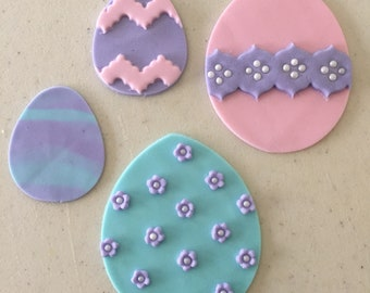 Fondant Easter Egg Decoration Assortment 6 pieces total- 3 large and 3 small- Gumpaste cake decorations